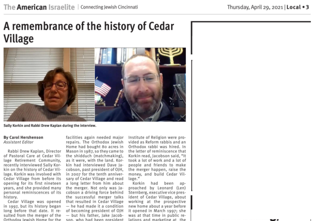 Article in This Week's Issue of The American Israelite on Cedar Village History