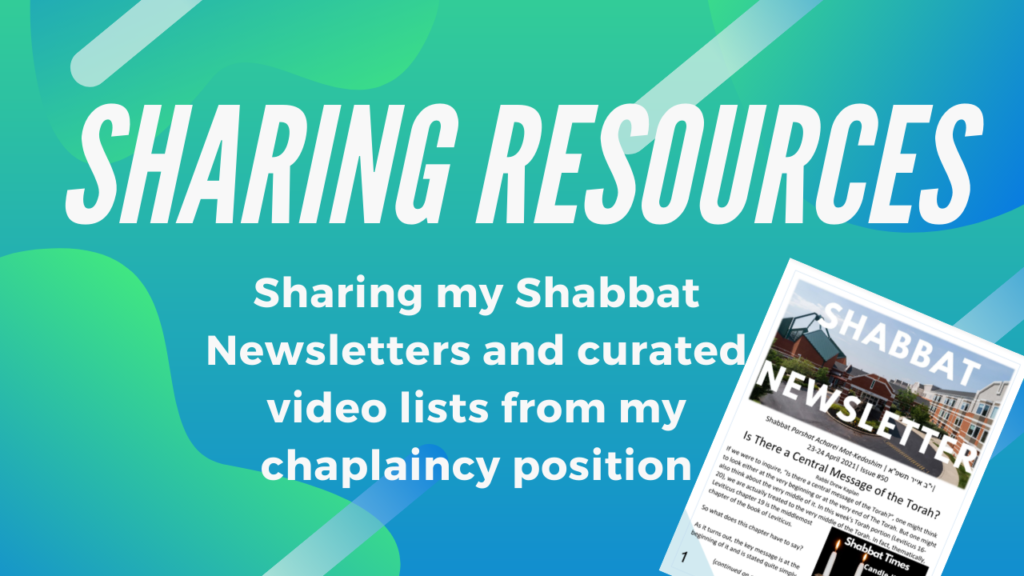 Sharing Resources from My Chaplaincy Position